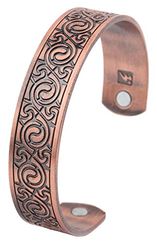 - Vintage Irish Celtic Knot Spiral Swirl Magnetic Therapy Cuff Bracelet Men Women Gift Jewelry (antique copper)
