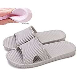 """Happy Lily Women/Men's Slip On Slippers Non-slip Shower Sandals House Mule Soft Foams Sole Pool Shoes Bathroom Slide for Adult (gray, us 10-11(outsole 11""""))"""
