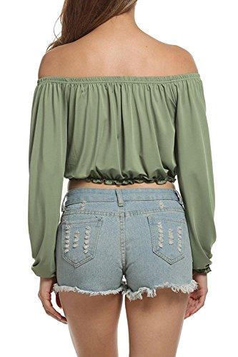 La Mujer Elegante Hombro Corto Camiseta Manga Larga Blusas Tops Green