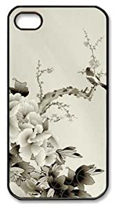 designer iphone 4 cases Chinese style peony PC Black for Apple iPhone 4/4S