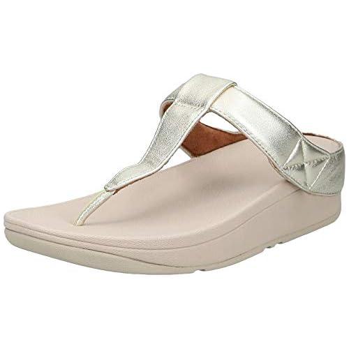 chollos oferta descuentos barato FitFlop Mina Adjustable Toe Post Leather Sandalias de Punta Descubierta para Mujer Dorado Ss19 Platino 675 42 EU