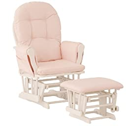 Stork Craft Hoop Glider and Ottoman, White/Pink