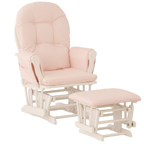 Storkcraft Hoop Glider and Ottoman, White/Pink
