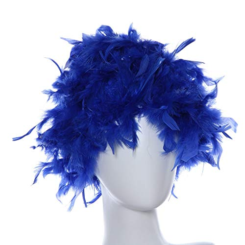 Wigs for Masquerade,Blue Wig,Small Roll Bang Short Straight Hair Wig,Suitable for Party,Cosplay]()