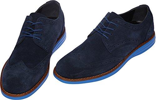 Gadea-020 Menn Uformell 4-hull Skinn Kjole Loafer Sko Navy Blå