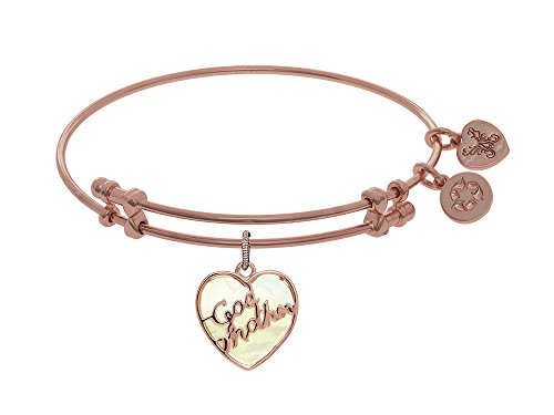 Brass with Godmother Heart Shaped Charm with Created Mop On Pink Angelica Collection Bangle