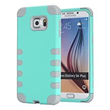 Galaxy S6 Edge+ Case, Pandawell™ 3-piece Hybrid Defender High Impact Body Armor Hard PC & Silicone Rubber Case Protective Cover for Samsung Galaxy S6 Edge Plus (Mint Green/Grey)