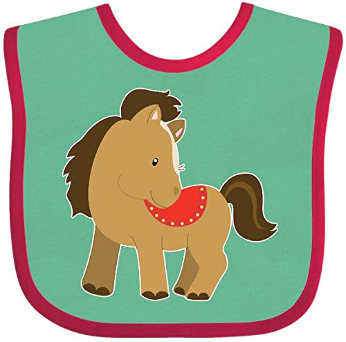 (Inktastic - Pony Baby Bib Green and Red 271be)