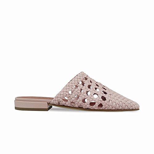 Baotou Planas Retro los Zapatos Rosado Medias DHG sin Verano del Perezosos del Mujeres Tacón Las 38 Llevan Tejidas xqXxPB8t