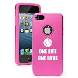 Apple iPhone 6 6s Aluminum Silicone Dual Layer Hard Case Cover One Life Baseball Softball (Hot Pink)