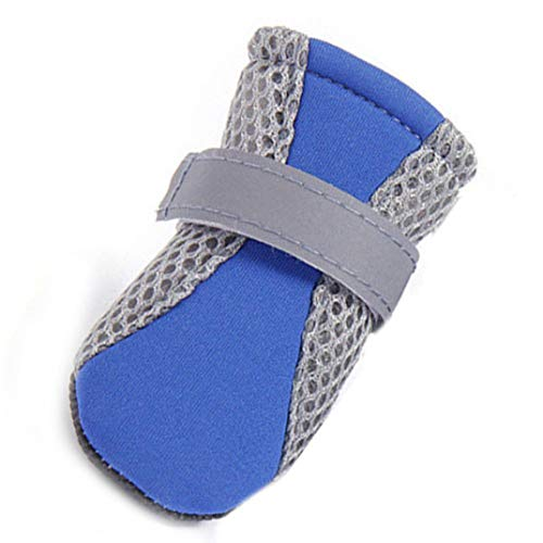Jim-Hugh Dog Shoes Breathable Mesh Anti-Slip Puppy Boots Reflective Outdoor Pet Footwear ()