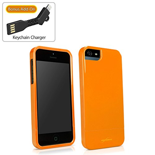 iPhone SE Fall, BoxWave® [Neon Slider Case mit BONUS Schlüsselanhänger Ladegerät] flexibel, glänzend Robust Cover für Apple iPhone SE, 5S, 5–Orange
