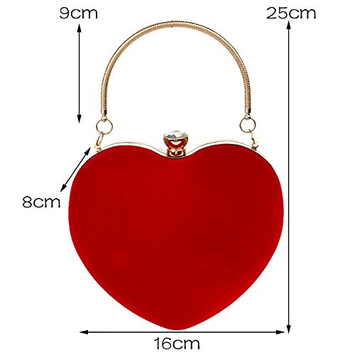 Wedding Evening Women Bag Bag Bag Makeup Heart Clutch Dinner Red Shaped Party Suede Mobile GXYCP Phone Red zqW1nBvv