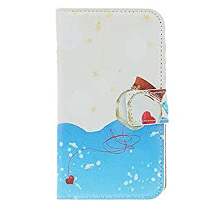 hao Ocean Painting Pattern Faux Leather with Plastic Hard Back Cover Pouches for Samsung Galaxy S4 I9500