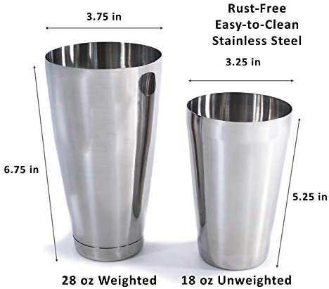 Southern 94 Boston Shaker Bartending Set with 28 Ounce Weighted Cocktail Mixers Perfect for the Home Bar Mixologist or Professional Bartender 18 oz Unweighted Tin Shakers and Hawthorne Strainer