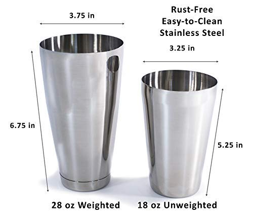 Southern 94 Boston Shaker Bartending Set with 28 Ounce Weighted, 18 oz Unweighted Tin Shakers and Hawthorne Strainer, Cocktail Mixers Perfect for the Home Bar Mixologist or Professional Bartender