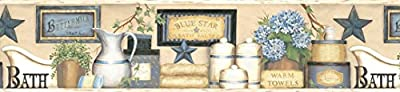 Chesapeake CTR63101B Martha Blue Country Bath Wallpaper Border