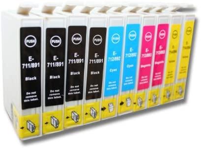 10 x Cartuchos de Tinta para Impresora, compatibles con Epson Stylus Office BX300F, BX300 y BX310 (Entre Otros).