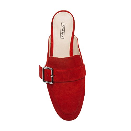 Pic / Pay Dacia - Dames Lederen Gesp Mule - Backless Slip-on Platte Lederen Loafer Rood Suède