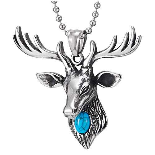 COOLSTEELANDBEYOND Mens Womens Steel Vintage Deer Reindeer Head Pendant Necklace with Turquoise, 30 Inches Ball Chain