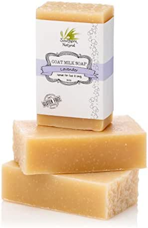 Lavender Goat Milk Soap Bars - For Eczema, Psoriasis & Dry Sensitive Skin! 100% Natural Handmade Soap. Gentle Baby Soap, Face soap & Body Soap. (3 BARS)