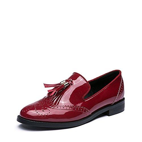 Baja fondo plano de cuero zapatos de la señora/ zapatos con borlas en B