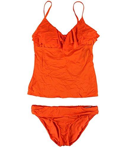 Fold Down Brief - Kenneth Cole Womens Ruffled Fold Down Brief 2 Piece Tankini Orange M