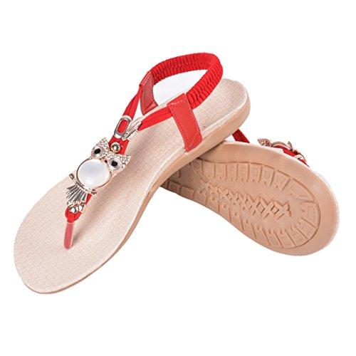 Fille Hibou Plates Peep Toe Été Femme Sandales Plage Encounter Strass Rouge de Chaussures Tongs Bohémien Clip 6T5wIq