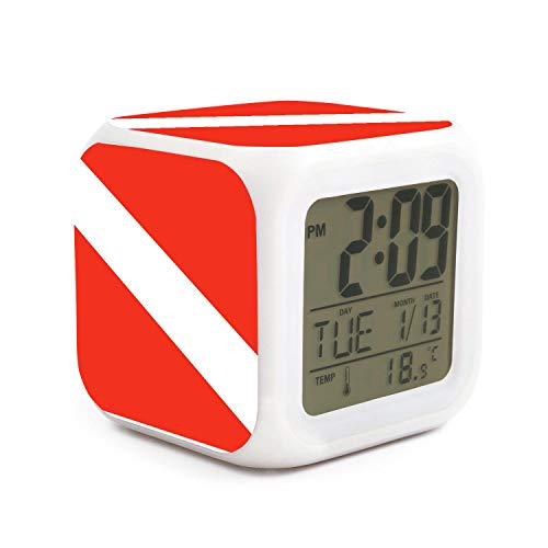 Led Alarm Clock Diver Down Flag Personality Creative Noiseless Multi-Functional Electronic Desk Table Digital Alarm Clock for Unisex and Toy Gift