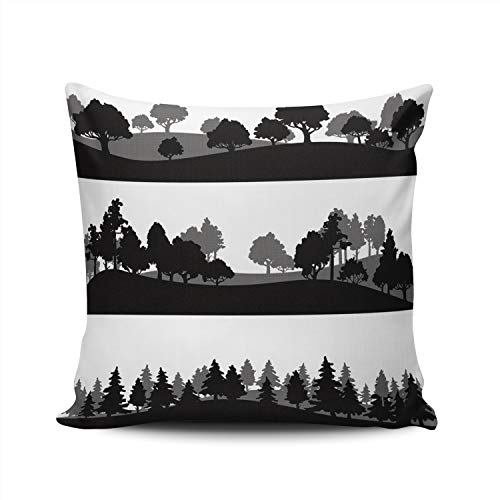 SALLEING Custom Fashion Home Decor Pillowcase Different Silhouettes of Landscape with Trees Square Throw Pillow Cover Cushion Case 22x22 Inches Double Sided Print