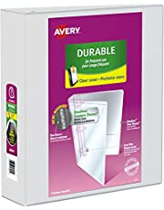 "Avery Durable View Binder, 3"" Slant Rings, 600 Sheet Capacity, 3 Ring Binder, 2 Pockets, PVC Free, White (17042)"