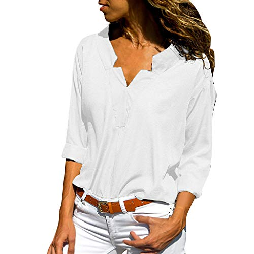 (〓COOlCCI〓Women's Long Sleeve V Neck Front Easy Care Woven Shirt, Solid Stand Collar Casual T-Shirt Tops Loose Blouse White)