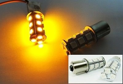 LEDIN 2x Amber High Power 18 SMD LED Rear Turn Signal Light Bulb 1156 BA15s 7506 3496