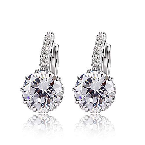LuckyNine9 18k white gold Stunning white topaz earring ()