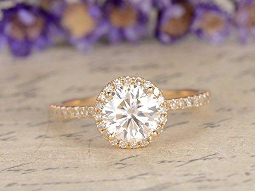 (Moissanite Engagement Ring Charles Colvard 7mm Round Cut VS Gemstone SI I-J Diamond Wedding Band 14k yellow gold Moissanite Ring White Gold)