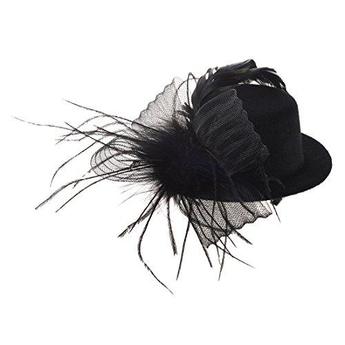 topper hair clip -TOOGOO(R) Organza veil foil hat mini top hat hair clip (Mini Hat With Veil)