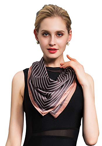Women's Fashion Soft Large Satin Square Chiffon Scarf Set Head Neck Multiuse Solid Colors ()