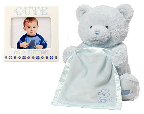 GUND Blue Peek A Boo Animated Teddy Bear Bundle with Cute As A Button Photo Frame