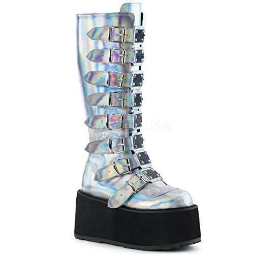 Buckle Creepers (Demonia Women's Damned-318 Knee High Boot, Silver Hologram Vegan Leather, 10 M US)