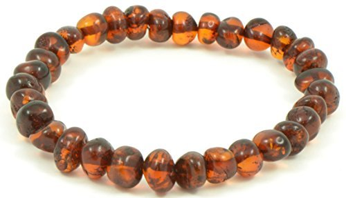 Baltic Amber Bracelet for Adults Made on Elastic Band - 7 Inches - Cognac Color - Baltic Amber Land - Hand-made From Polished / Certified Baltic Amber Beads (Cognac)