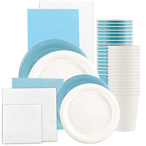 JAM Paper Party Supply Assortment - Sea Blue & White Grad Pack - Plates (2 Sizes), Napkins (2 Sizes) , Cups & Tablecloths - 12/pack