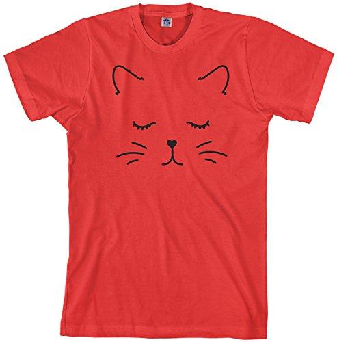 Threadrock Men's Kitty Cat Face T-Shirt 2XL Red -