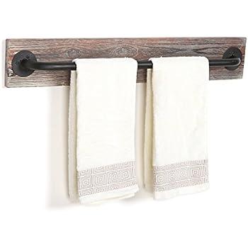 Torched Wood & Black Metal Hanging Towel Bar / Wall Mounted Bathroom Towel Holder Rack - MyGift