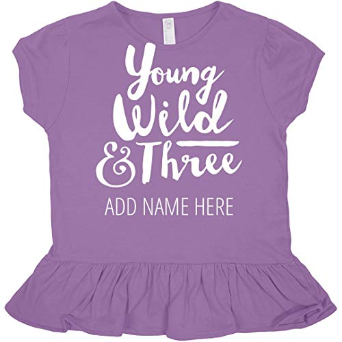 Custom Name Three Year Old Birthday : Toddler Rabbit Skins Ruffle Fine Jersey Tee Lavender]()