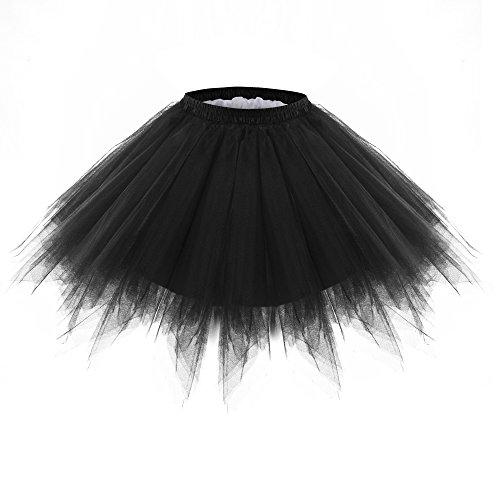 BAOMOSI Women's Short Vintage Petticoat 1950s Vintage Tutu Petticoat Ballet Bubble Skirt Multi-Colored Black (Taffeta Tutu)