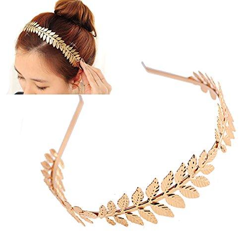 Women Lady Girls Greek Roman Laurel Leaf Hair Hoop HeadBand Bridal Hair Crown Headdress Metal Leaf Branch French Hair Bands Hair Accessories (Gold - A#) -
