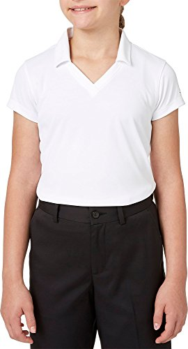 Slazenger Girls' Solid Golf Polo, (White, M)