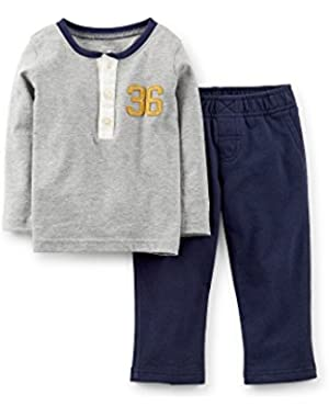 Carters 18 Month 2-Piece Henley Top & Pant Set Grey