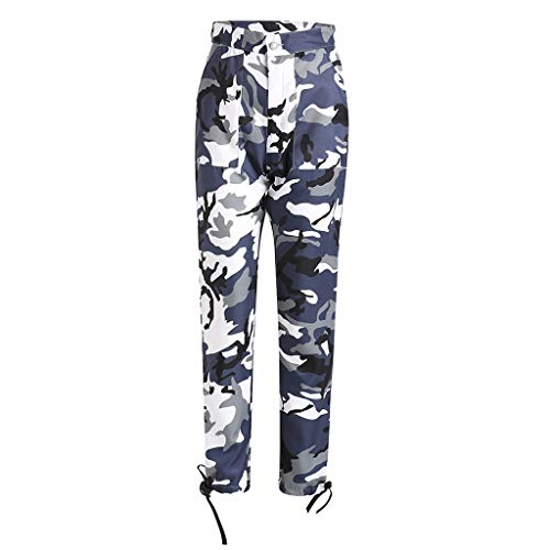 ▶HebeTop◄ Women Camouflage Sweatpants High Waist Wide Leg Culottes Cotton Trousers Loose Pants ()