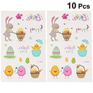 Amosfun 10pcs Easter Temporary Tattoos Stickers Waterproof Body Art Tattoo Decals for Kids Child Baby